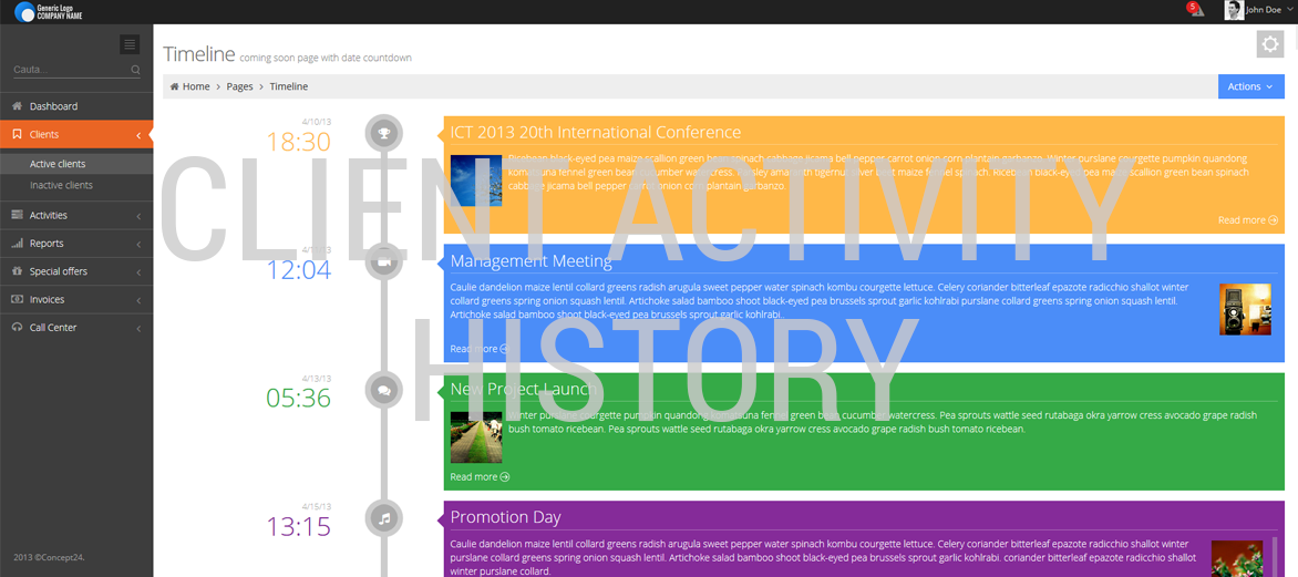 CLIENT & CONTACT management software / Client activity history / Concept24