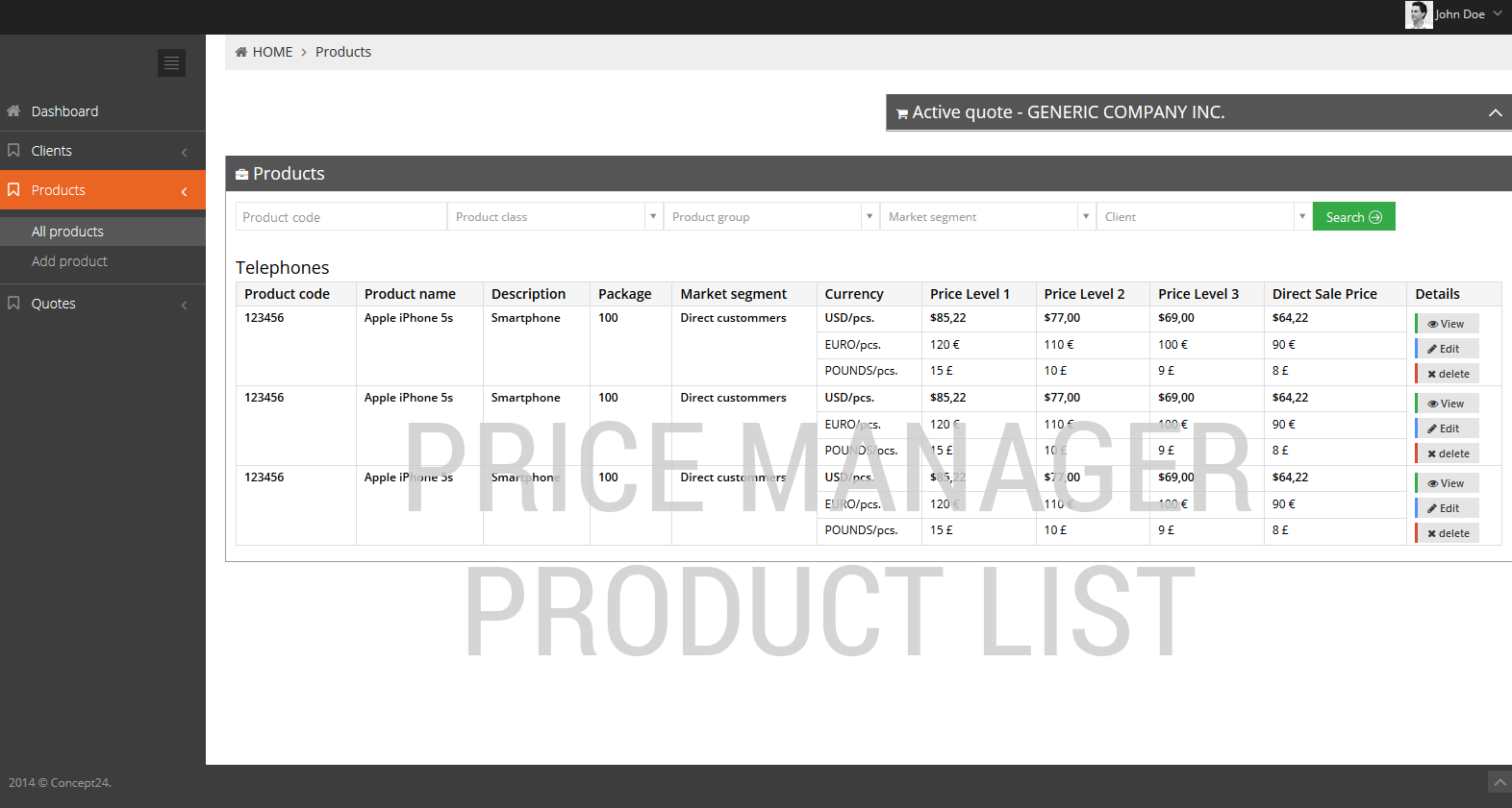 Product management software / Price manager product list / Concept24