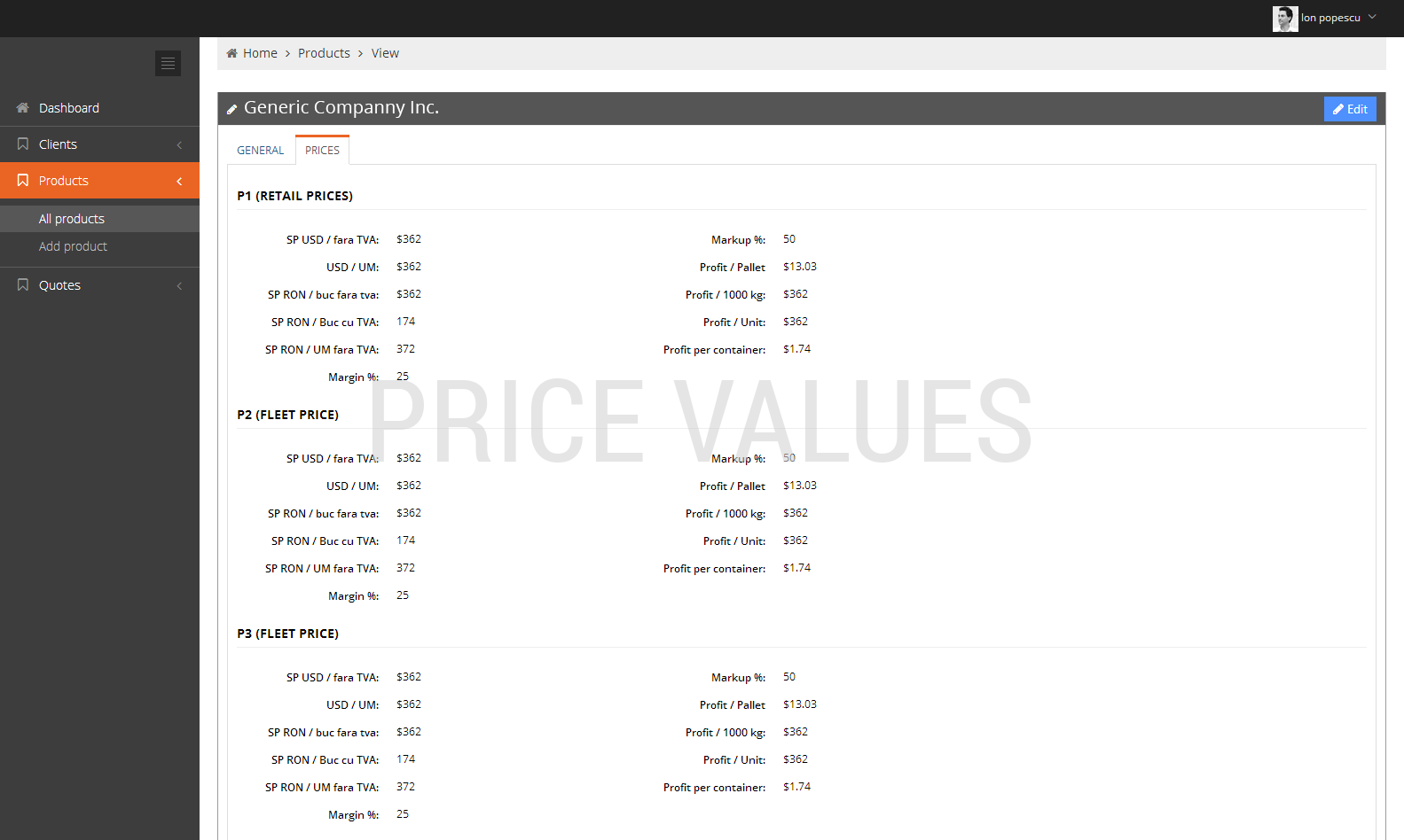 Product management software / Price values / Concept24