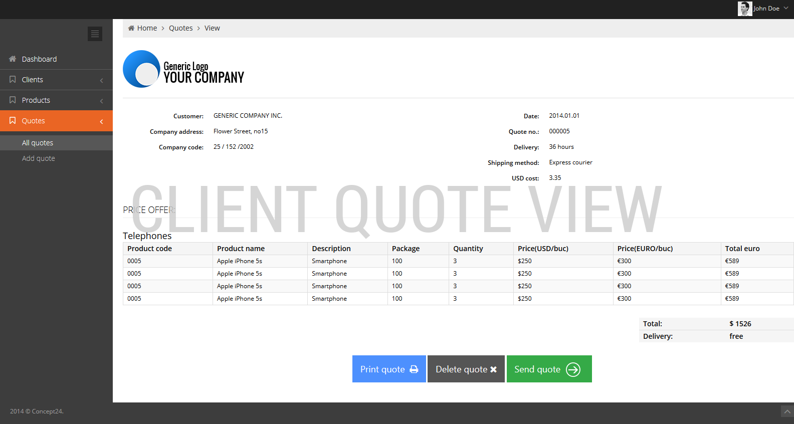 Quoting software / Client quote view / Concept24