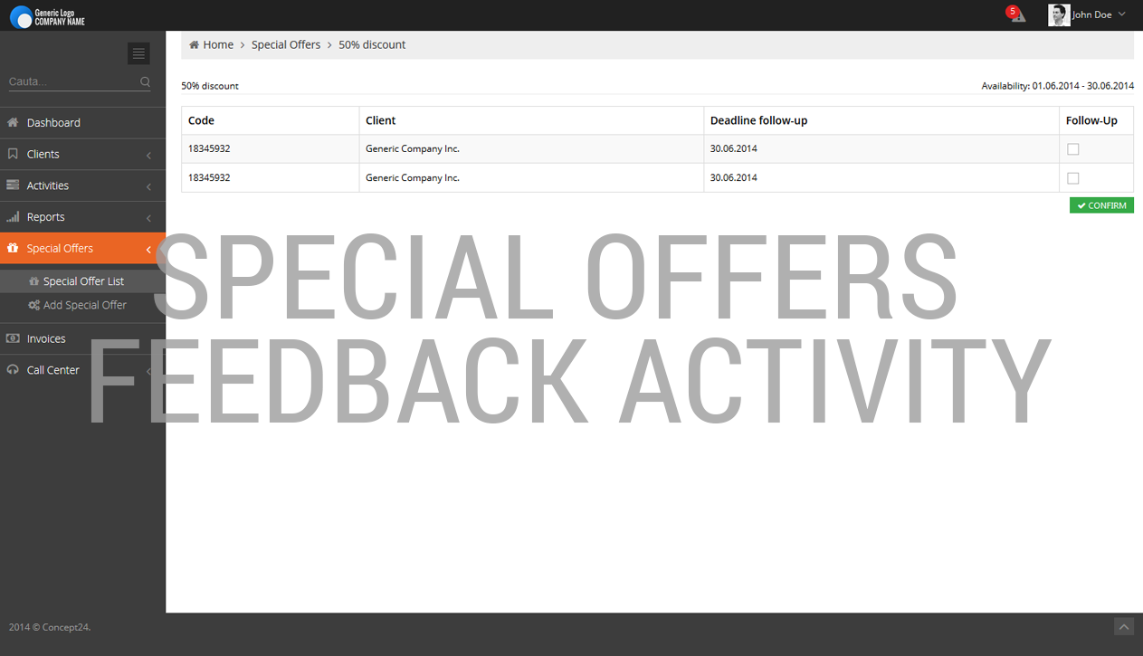 Quoting software / Special offers feedback activity / Concept24